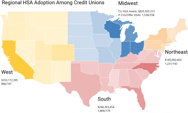 2018 Regional HSA Adoption Among Credit Unions